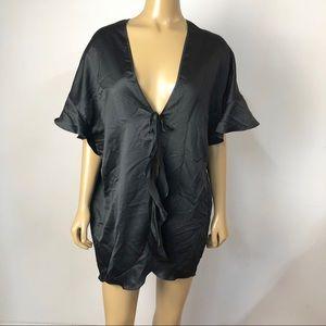 Victoria's Secret black satin short sleeve robe